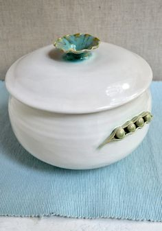 Pea Pod Handmade Ceramic Casserole from Lee Wolfe Pottery- new design