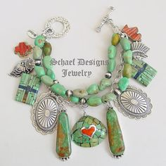 Schaef Designs Campo Frio Turquoise Spiny Oyster 3 strand Native American Charm Bracelet Necklace | Schaef Designs Southwestern & Equine Jewelry | Online upscale southwestern equine jewelry boutique gallery | New Mexico