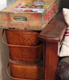 Vintage picnic baskets and pop / soda case