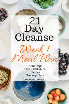 21 day cleanse meal plan and shopping list - Tishema C. - 21 day cleanse meal plan and shopping list Week 1 of a 21 day cleanse plan. FREE printables with meal plans, grocery lists, and recipes! This is a great cleanse plan that can reset your body. Detox Meal Plan, Diet Meal Plans To Lose Weight, Healthy Diet Tips, Healthy Recipes, Healthy Eating, Weekly Recipes, Fast Recipes, Healthy Lunches, Healthy Habits