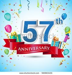 57th Years Anniversary Celebration Design, with gift box and balloons, Red ribbon, Colorful Vector template elements for your fifty seven birthday celebrating party.