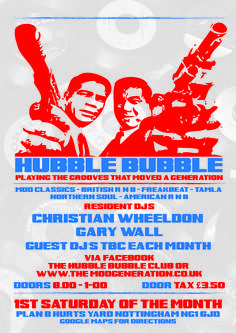 Hubble Bubble - one of Nottingham's best nights out on the MOD scene in nottingham, retro style posters with iconic 60's image of the kray brothers