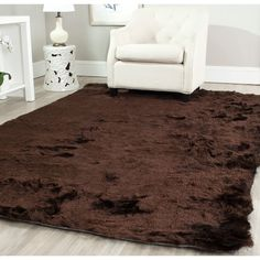 Safavieh Silken Chocolate Brown Shag Rug (6' x 9') - Overstock Shopping - Great Deals on Safavieh 5x8 - 6x9 Rugs