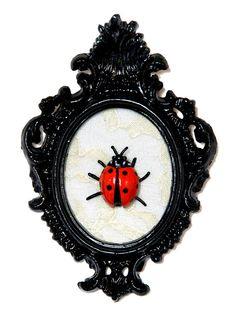 Ladybug  Victorian Framed Object  Wall Art Decor