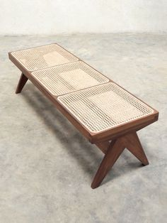 Teak & Cane Bench Pierre Jeanneret Style by PhantomHands on Etsy