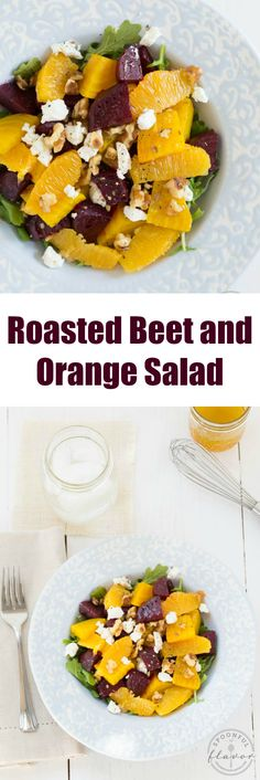 Roasted Beet and Orange Salad with arugula, goat cheese, walnuts and fresh orange vinaigrette!