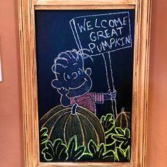 Charlie Brown and The Great Pumpkin chalkboard art starring Linus - Welcome Great Pumpkin