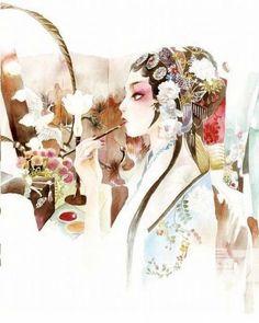 【中国国粹—京剧】中国风。东方神韵。青衣。花旦。戏曲。京剧。妩媚。国剧。戏子。手绘插画。