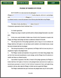 Pledge Of Personal Property Contract Template  Forms