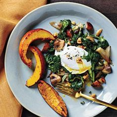 Poached Eggs with Spinach and Walnuts Recipe | CookingLight.com