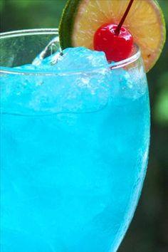 ADIOS Mother F*&@$#%-  3/4 oz vodka, 3/4 oz gin, 3/4 oz light rum, 3/4 oz tequila, 3/4 oz blue curacao, 2 oz sour mix, 1/2 oz carbonated lemon-lime beverage, 1 lemon wedge, 1 lime wedge, cherry