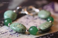 Bracelet Turquoise Howlite Green Agate by PickleStiksandCo on Etsy, $22.00