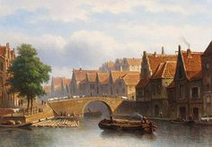 Eduard Alexander Hilverdink (Dutch, 1846-91), A Canal in a Busy Dutch Town