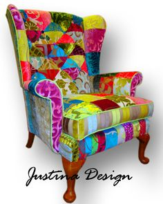 Unique One Off Vintage Patchwork Chair Sofa Designers Guild Fabric - In I love this chair but not sure where it'd go in my house!
