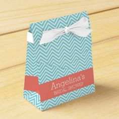 Teal and Peach Chevrons Bridal Shower Favors Favor Boxes