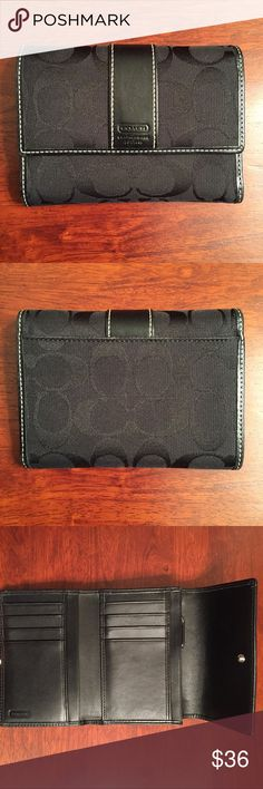 """COACH Signature C Tri-Fold Wallet Black COACH Signature C Tri-Fold Wallet Black  * Brand: Coach * Style: Tri-Fold * Color: Black Signature C * Measurements: Appx 5 3/8"""" x 4"""" x 1"""", open length 10.5"""" * Features: Coach canvas with leather trim, 8 credit card slots & 5 other slots for various receipts, etc; zippered coin pocket, side pocket for bills, snap closure, outside slip pocket * Condition: Preloved and in very good condition, cannot see any signs of wear on corners, minor scratches on…"""
