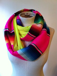 Handmade Mexican Blanket Infinity Scarf w/Neon Jersey Knit/Boho/Everyday/Circle Scarf/Serape/Pink/Yellow/Saltillo on Etsy, $49.00