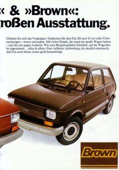 Fiat 126 Red & Brown German Brochure Fiat 126, Fiat Models, Design Cars, Fiat Abarth, Brochures, Car Pictures, Dream Cars, Honda, Classic Cars
