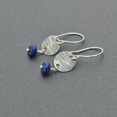 Lapis Lazuli Dangle Earrings Blue Earrings Oxidised