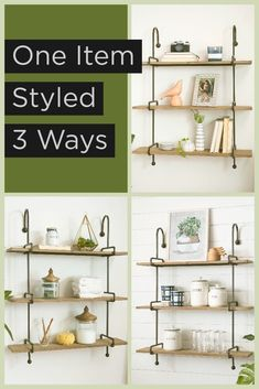 Wall decor inspiration! 💕 Read today's blog to see how you can style this shelf in every room of your home. Cow Kitchen Decor, Storage Canisters, Small Room Decor, Wall Spaces, Diy Crafts To Sell, Diy Home Decor, Shelf, Wall Decor, Vignettes