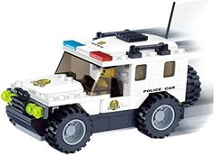 High Speed Police Car - 114 building blocks create white crime busting vehicle