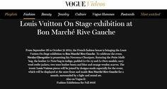 Louis Vuitton On Stage exhibition at Bon Marché Rive Gauche - VOGUE #Press #Pressbook #Fashion #Mode #Femme #Women #LVonStage @LouisVuitton @VOGUE