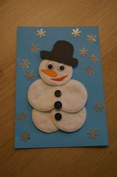 Crafts with seniors. Make a snowman out of cotton wool - Crafts with seniors. Make a snowman out of cotton wool - : Crafts with seniors. Make a snowman out of cotton wool - Crafts with seniors. Make a snowman out of cotton wool - Kids Crafts, Diy Crafts To Do, Winter Crafts For Kids, Christmas Crafts For Kids, Christmas Activities, Toddler Crafts, Christmas Art, Holiday Crafts, Christmas Decorations
