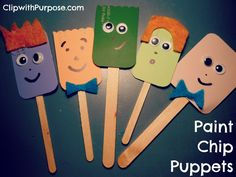 Paint Chip Puppets  - sooo cute, easy and inexpensive.  Great idea for a Sunday School or Girl Scout project for children to include in their Operation Christmas Child shoeboxes!