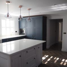 Navy and white english kitchen