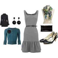 Grey Dress and Blue Accessories Combo- I wore almost the exact outfit Including the trench, skinny belt and scarf (Banana Republic dress and Jones NY cardigan with Brooks Brothers pumps) and it was beautiful