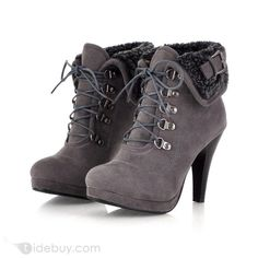 Fashion European Style Stiletto heel Gray Ankle boots : Tidebuy.com