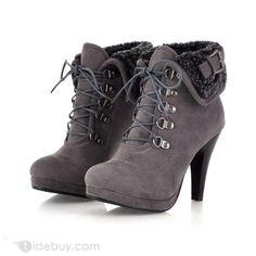Fashion European Style Stiletto heel Gray Ankle boots : Tidebuy.com