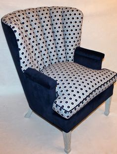 Vintage Shell / Channel Chair in Navy Velvet and Textured Velvet Geometric Fabric by Element20