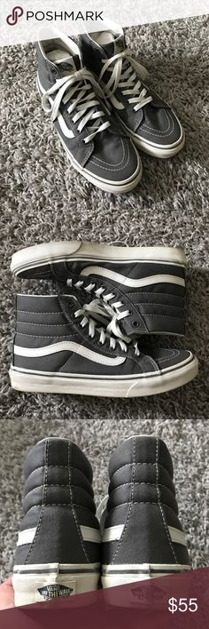Vans Sk8-Hi Hightop Shoes These are the best shoes ever!! Super cool and comfy. In amazing condition - only worn 2 times. The sole is a bit dirty but should be easy to clean. No stains on the top gray cloth material. Unisex. Size 8.5 in women's and 7 in men's. Vans Shoes Sneakers