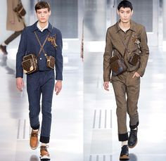 Louis Vuitton 2015-2016 Fall Autumn Winter Mens Runway Catwalk Looks - Mode à Paris Fashion Week Mode Masculine France - Jeans Cut Ropes Threads Buttons Safety Pin Keys Nautical Outerwear Coat Parka Windowpane Check Suit Turtleneck Crossbody Bags Wool Robe Luggage Engraved Embossed Flap Pockets Bomber Jacket Quilted Puffer Onesie Jumpsuit Boiler Suit Leather Briefcase