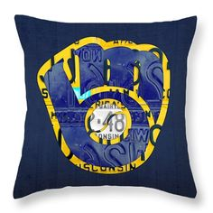 Milwaukee Brewers Throw Pillow featuring the mixed media Milwaukee Brewers Vintage Baseball Team Logo Recycled Wisconsin License Plate Art by @designturnpike || #Prints available on Pixels || http://pixels.com/products/milwaukee-brewers-vintage-baseball-team-logo-recycled-wisconsin-license-plate-art-design-turnpike-throw-pillow.html