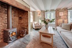 Luxury self-catering cottage near Bude, Luxury self-catering holiday cottage Bude, North Cornwall - Luxury Homes Cottage Living Rooms, Cottage Interiors, Home Living Room, Living Room Designs, Cottage Fireplace, Inglenook Fireplace, Fireplaces, Cottage Shabby Chic, Snug Room