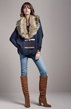 MICHAEL Michael Kors Faux Fur Trim Poncho & Zip Pocket Skinny Jeans available at #Nordstrom