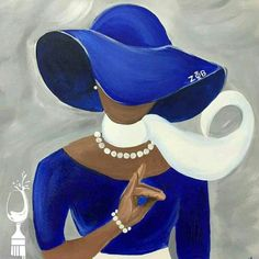 Our Favorite Pieces of African American Sorority Art - Black Southern Belle Black Girl Art, Black Women Art, Art Women, Black Art Pictures, Zeta Phi Beta, Black Artwork, Paint And Sip, Church Hats, Afro Art