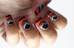 Beautyill #nail #nails #nailart Tribal Stamps (black pattern) with similar designs are available. They make it really easy to stamp on an ombre background for a fantastic effect like this!