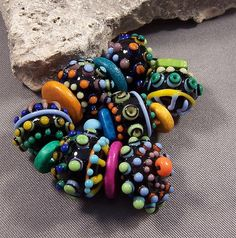 Handmade Lampwork Beads by Mona - Space Bots VI -Bright Colorful Dots on Dots Lamp work Beads Summer Boho 2014