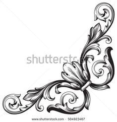 Vintage baroque corner scroll ornament engraving corner floral retro pattern antique style acanthus foliage swirl decorative design element filigree calligraphy. Element of Design.