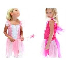 Dancing Fairy Dress:- One of a kind fairy dress up. Shirred singlet top with a lace up front, beautiful multi colored skirt with full layers of lined organza petals. Special wings attached at the back. A favorite and very pretty on.