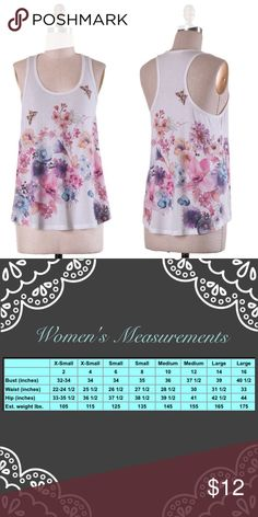Floral Print Sublimation Tank Top Floral Print Sublimation Tank Top  🔸62% Polyester 33% Rayon 5% Spandex 🔸Made in USA 🔸  ✔️Serious buyers please & No Low ballers!  To me it's asking half or more off an item is Low Balling.   ✔️Please understand the sizes listed on the size chart are different between manufacturers & suppliers & this chart should only be used as an approximate guide. Amor Adore Tops Tank Tops