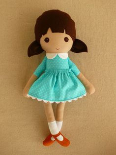 Fabric Doll Rag Doll Girl in Turquoise Blue Polka by rovingovine, $37.00