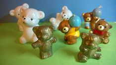 Collection of Various Vintage Ceramic, Metal & Wax Candle Teddy Bears