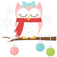 Pink Winter Owl cut file SVG scrapbook title winter svg cut file snowflake svg cut files for cricut cute svgs free