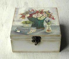 Wooden Tea Box, Wooden Watch Box, Decoupage Box, Decoupage Vintage, Tea Bag Storage, Tea Organization, Painted Trunk, Paisley Art, Tea Gifts