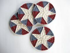 Americana Quilted Coasters, Fabric Coasters,  July 4th Rustic Table Decor Country Farmhouse Decor Kitchen Primitives Country Decor Patriotic