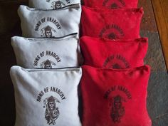 Sons of Anarchy  Set of 8 Cornhole bags $25.00. Cornhole bags are regulation size and weight and filled with whole feed corn. made out of 12oz. duck cloth material. I guarantee them not to break. They are sized 6x6 and filled to be between 15.6 oz. and 16.0oz. The product guarantee information will be included in the shipping box. You will receive 4 bags of one style and 4 bags of the other. Check out my other pinterest boards for more bags and a wide selection of cornhole boards. Contact me…
